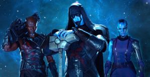 Korath (Djimon Honsou), Ronan (Lee Pace), Nebula (Karen Gillan)