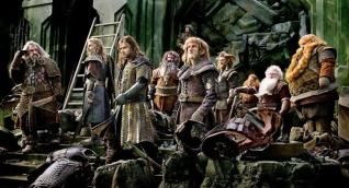 The Dwarven company among the ruins of Erebor.