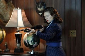 Peggy catching Black Widow and Dr. Faustus in the act.