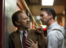 Michael Keaton and Edward Norton as Riggan Thomson and Mike Shiner in 'Birdman'