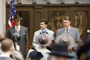 Howard Stark (Dominic Cooper) and Agent Thompson (Chad Michael Murray) addressing Stark's connection to the case.