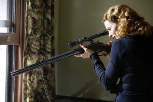 Dottie taking aim.